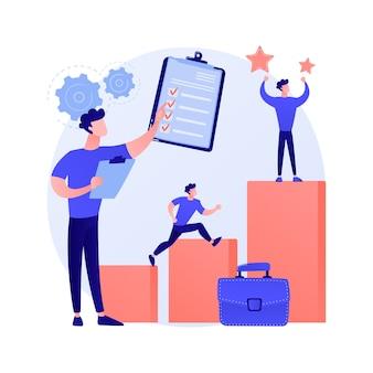 Homme d'affaires autodidacte. échelle de carrière. amélioration personnelle, nouvelle opportunité. homme avec des cubes de construction d'escaliers. croissance des affaires, développement de stratégies.