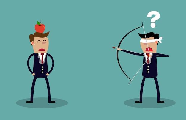 Homme d'affaires aux yeux bandés visant à tirer sur apple