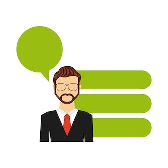 Homme d'affaires avatar avec icônes plat bussines