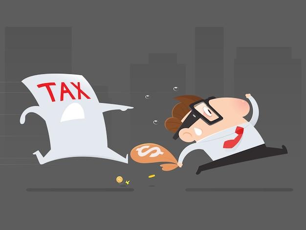 Homme d'affaires de bande dessinée éviter de payer des impôts