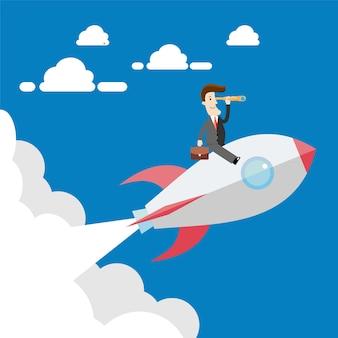 Homme d'affaires battant sur la fusée. illustration de concept d'affaires