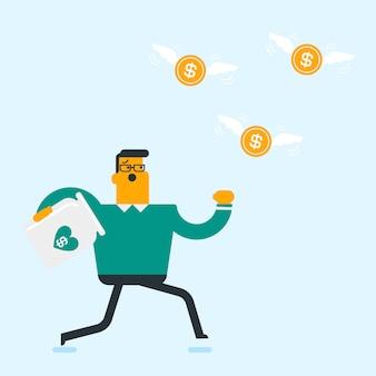 Homme d'affaires blanc caucasien essayant d'attraper des pièces de monnaie.