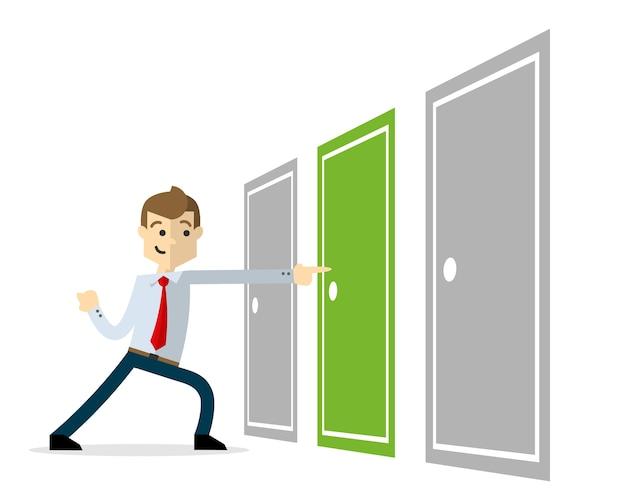 Homme d'affaires avec une bonne solution, décrivant avec la sélection d'une porte droite.