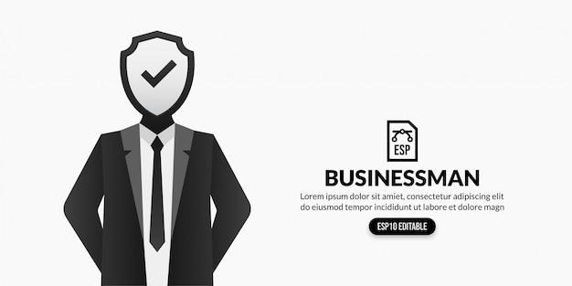 Homme d'affaires avec bouclier au lieu de tête sur fond blanc avec espace copie