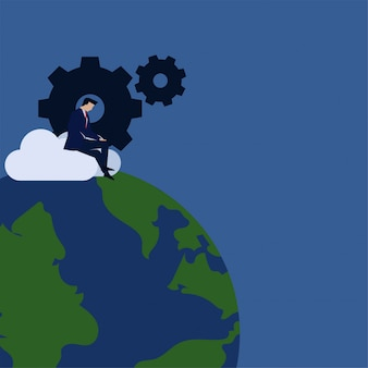 Homme d'affaires de business vector plate concept travaillent sur nuage avec métaphore de gear et globe de la mise à jour globale.