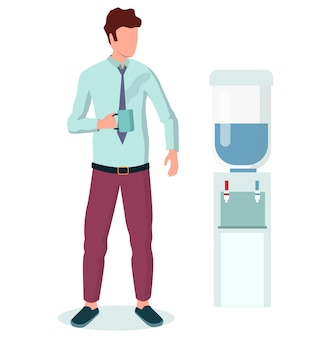 Homme d'affaires buvant du café debout près du refroidisseur d'eau au bureau, illustration vectorielle plane. pause café. l'heure du thé. mode de vie au bureau.