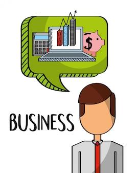 Homme d'affaires avec la calculatrice de cochon d'ordinateur portable dans l'entreprise de chat de bulle