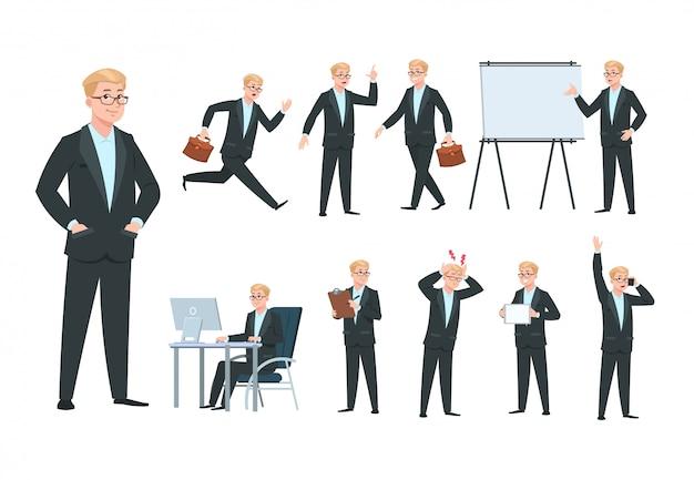 Homme d'affaires. caractère d'homme d'affaires, travailleur professionnel dans différentes activités commerciales de bureau. collection isolée de dessin animé