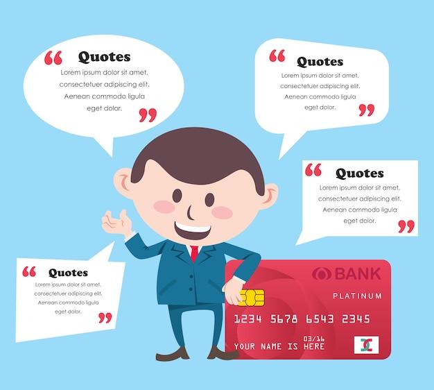 Homme d'affaires avec carte de crédit et bulle