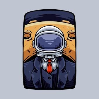 Homme d'affaires avec casque d'astronaute