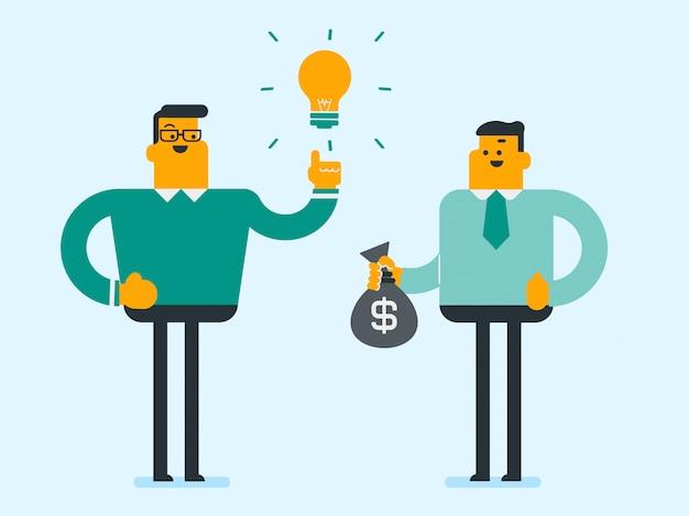 Homme d'affaires caucasien, échange d'idée contre de l'argent.
