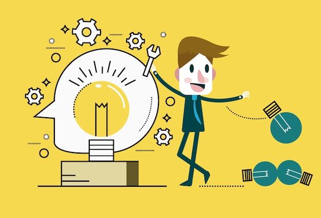 Homme d'affaires changer l'ampoule