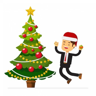 Homme d'affaires, chapeau noël, sauter, célébrer, noël, fête