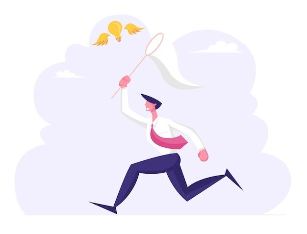 Homme d'affaires chassant une ampoule volante essayant de l'attraper avec un filet à papillon