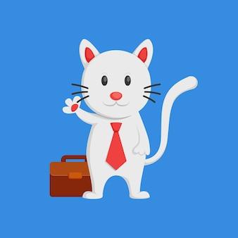 Homme d'affaires de chat blanc mignon dire hallo