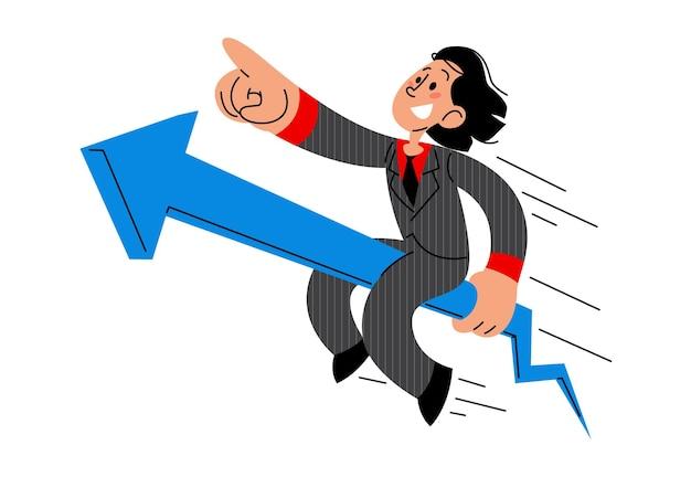 Homme d'affaires chevauchant une flèche croissante réussie illustration vectorielle plane