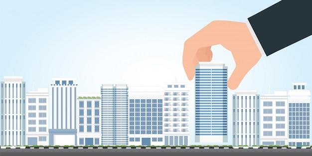Homme d'affaires choisir un bâtiment moderne