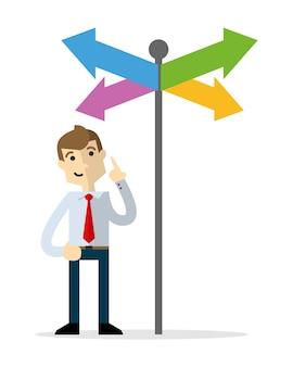 Homme d'affaires, choisir une bonne direction