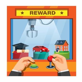 Homme d'affaires choisit une récompense financière dans l'illustration de la machine à griffes