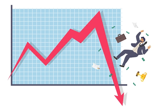 Homme d'affaires en chute et flèche vers le bas graphique illustration vectorielle plate échec d'entreprise effondrement économique...