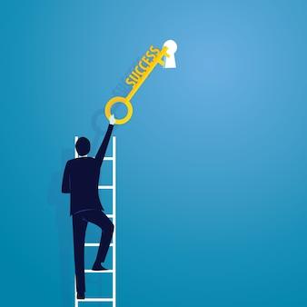 Homme d'affaires avec la clé du succès