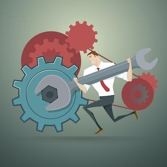 Homme d'affaires avec une clé et des rouages. illustration vectorielle