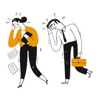 Homme d'affaires et collègue de travail pleurent à pied