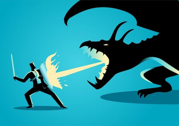Homme d'affaires combattant un dragon