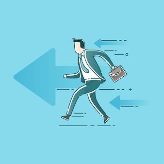 Homme d'affaires commence à courir avec des flèches