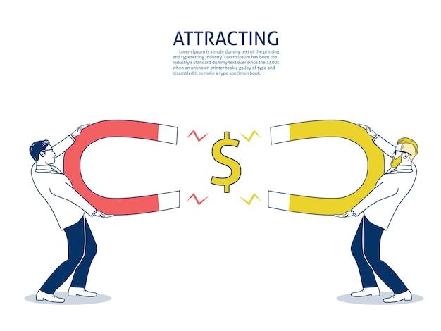 Homme d'affaires compétitif attire de l'argent avec un grand aimant.