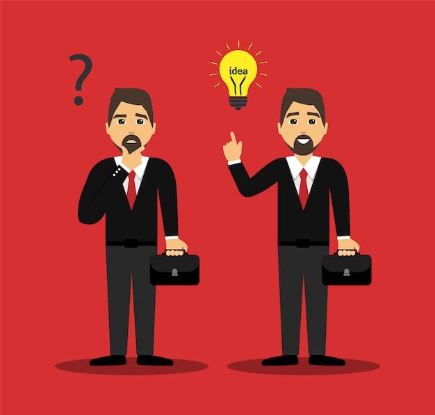 Homme d'affaires concept pense et est venu avec une nouvelle idée.