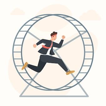 Homme d'affaires de concept de stagnation de carrière fonctionnant dans la roue de hamster