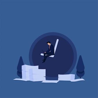 Homme d'affaires concept vecteur plat travailler avec ordinateur portable avec horloge