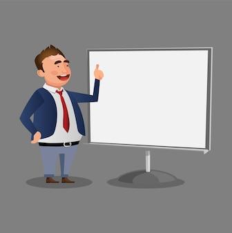 Homme d'affaires sur la conception de vecteur de caractère de présentation