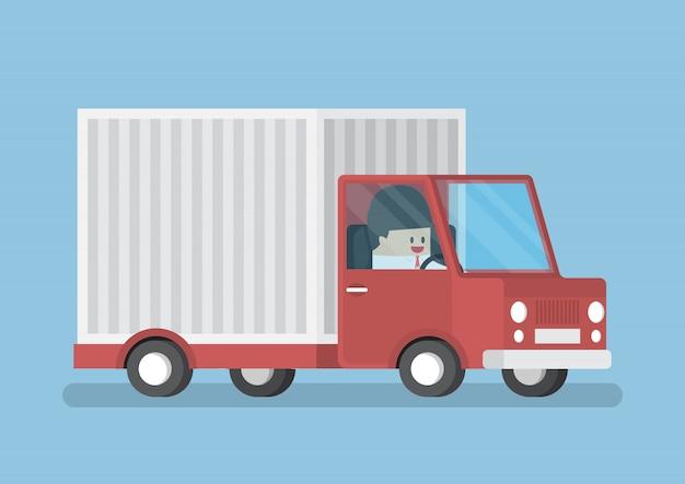 Homme affaires, conduite, camion