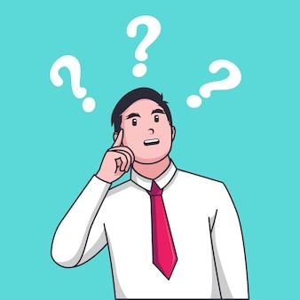 Homme d'affaires confus faire choix devant deux flèches