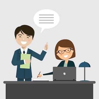 Homme affaires, conversation, secrétaire, bureau
