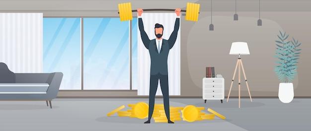 Un homme d'affaires en costume d'affaires lève une barre. l'homme du bureau lève la barre. concept d'entreprise réussi. vecteur.