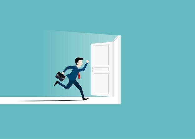 Homme d'affaires en costume courant vers la porte ouverte. l'homme ouvre la porte à la recherche de travail. concept de réussite commerciale. concept de motivation et de démarrage. début de carrière commerciale. design plat illustration vectorielle
