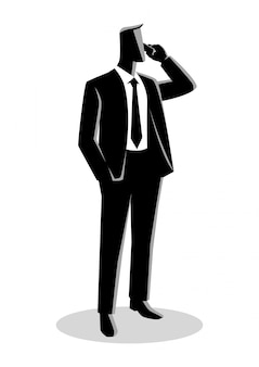 Homme d'affaires en costume officiel debout au téléphone
