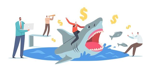 Homme d'affaires courageux chevauchant un énorme requin dangereux avec des personnages masculins effrayés autour. entrepreneurs professionnels avec ordinateur portable et spyglass, hommes d'affaires prospères. illustration vectorielle de gens de dessin animé