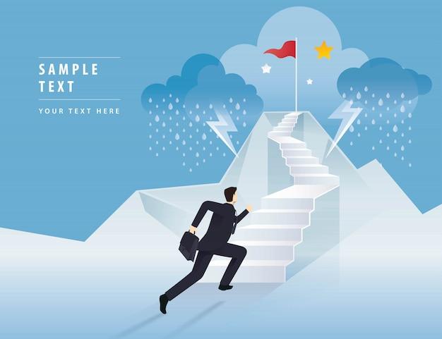 Homme affaires, courant, escalier, drapeau rouge, montagne