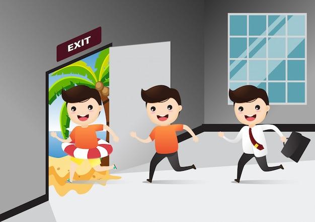 Homme affaires, courant, sortie, signe, porte, sien, descendre, travail aller, à, mer