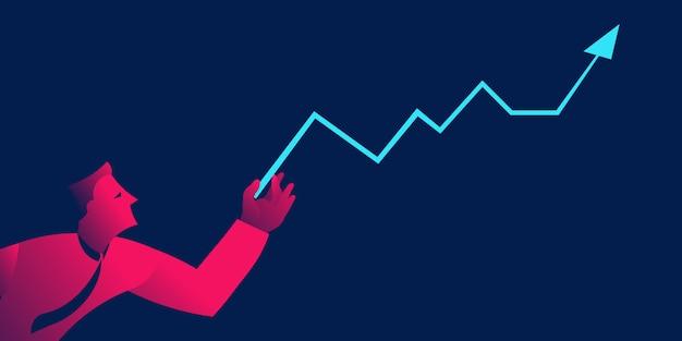 Homme d'affaires avec courbe de croissance, concept d'entreprise de gestion financière