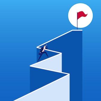 Homme d'affaires en cours d'exécution étape d'escalier au drapeau du succès