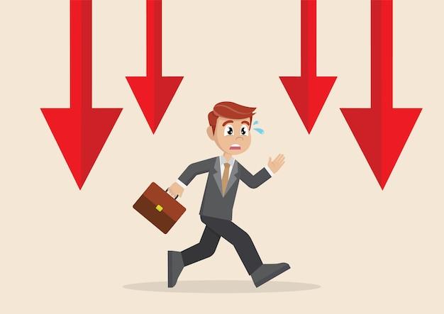 Homme d'affaires en cours d'exécution de graphique en baisse.