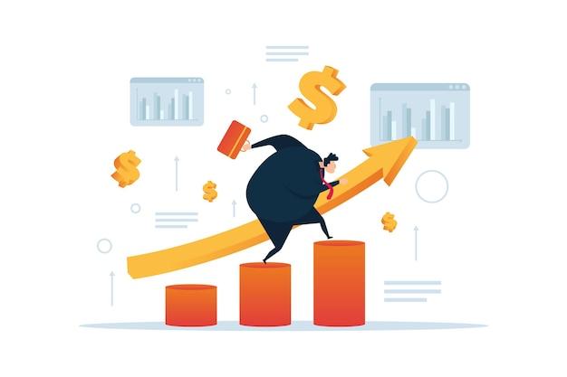 Homme d'affaires en cours d'exécution sur le graphique. conception plate de marketing d'entreprise.