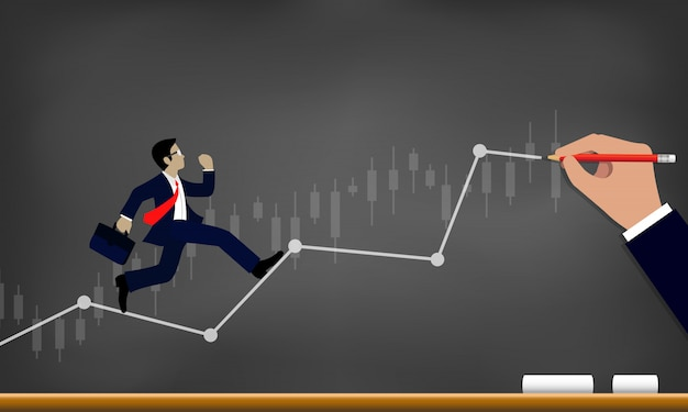 Homme d'affaires en cours d'exécution sur la ligne graphique pour atteindre le succès sur fond de tableau noir