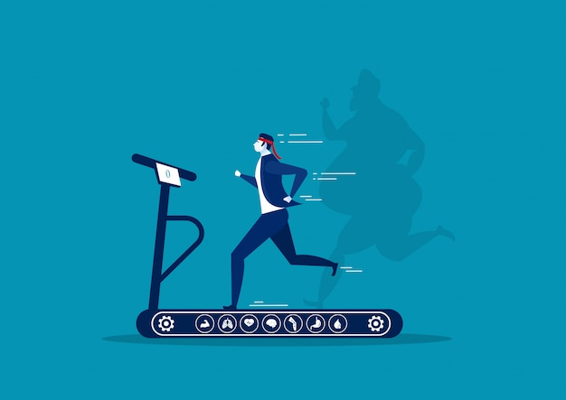 Homme d'affaires en cours d'exécution sur tapis roulant avec ombre perte de poids gars surdimensionné graisse avec l'icône de heath sur illustrator fond bleu.