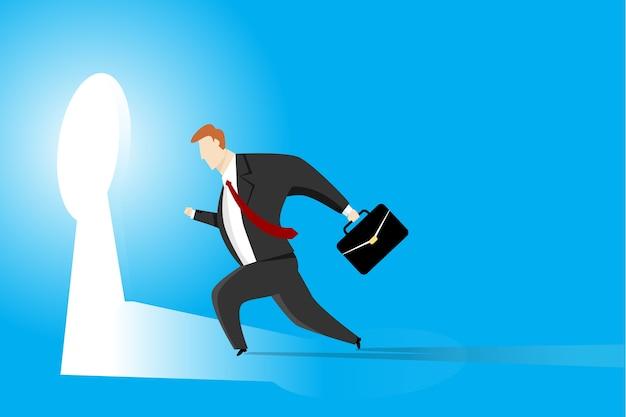 Homme d'affaires en cours d'exécution vers le trou de la clé. concept d'entreprise